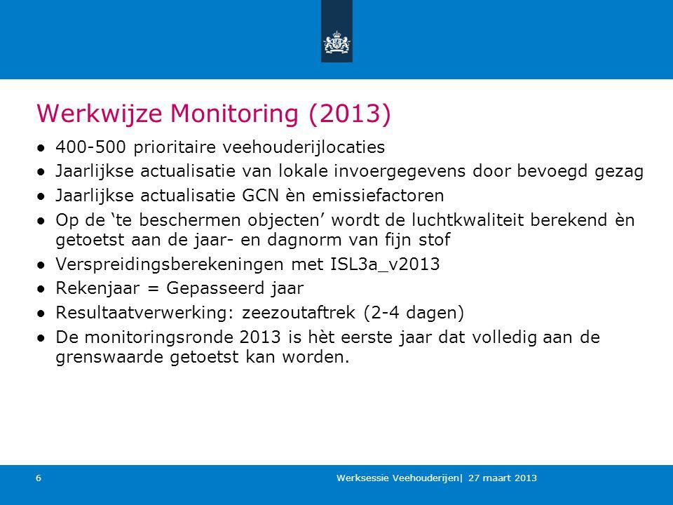 Monitoring De monitoring van het NSL is een jaarlijkse cyclus waardoor de resultaten van jaar tot jaar kunnen variëren, hoofdzakelijk wegens wijzigingen in de generieke gegevens (achtergrond en emissiefactoren), lokale veehouderijgegevens en de locatie van de rekenpunten.