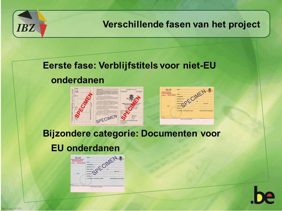 Eerste fase: Verblijfstitels voor niet-EU onderdanen Verschillende fasen van het project Bijzondere categorie: Documenten voor EU onderdanen