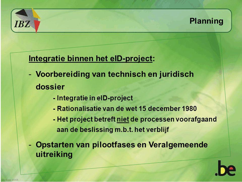 Integratie binnen het eID-project: -Voorbereiding van technisch en juridisch dossier - Integratie in eID-project - Rationalisatie van de wet 15 decemb