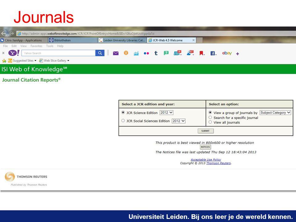 Universiteit Leiden. Bij ons leer je de wereld kennen. Journals