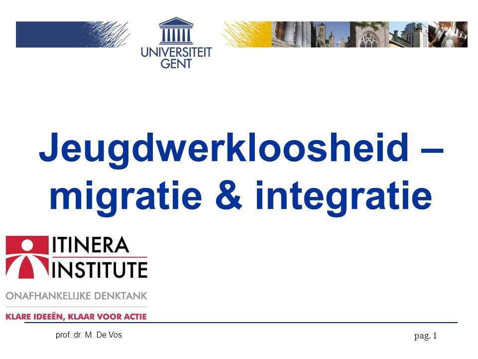pag. 1 prof. dr. M. De Vos Jeugdwerkloosheid – migratie & integratie