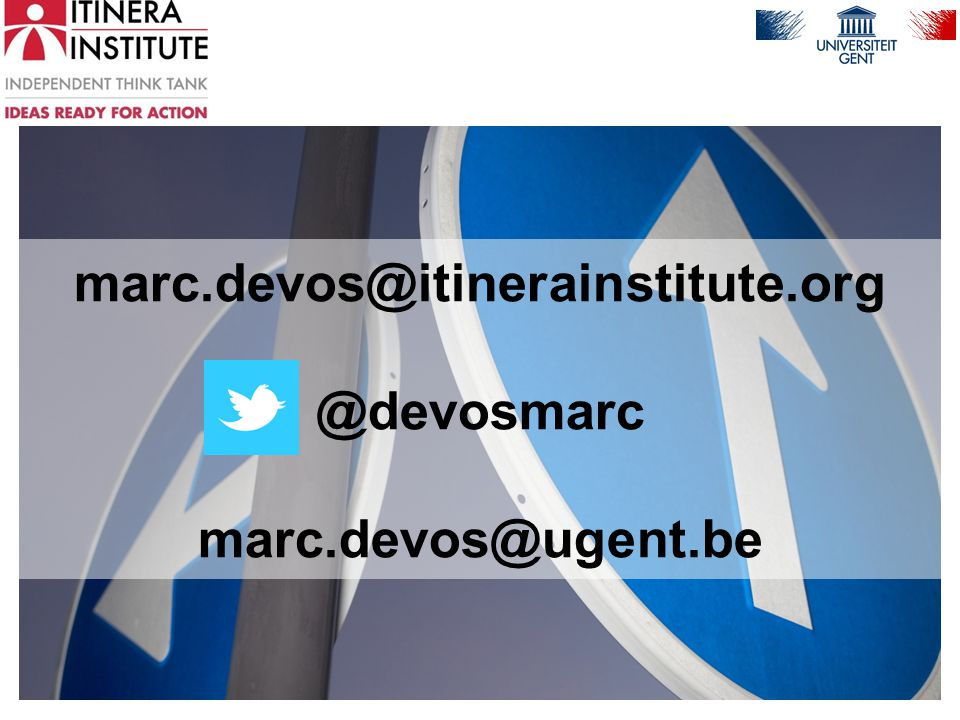 marc.devos@itinerainstitute.org @devosmarc marc.devos@ugent.be