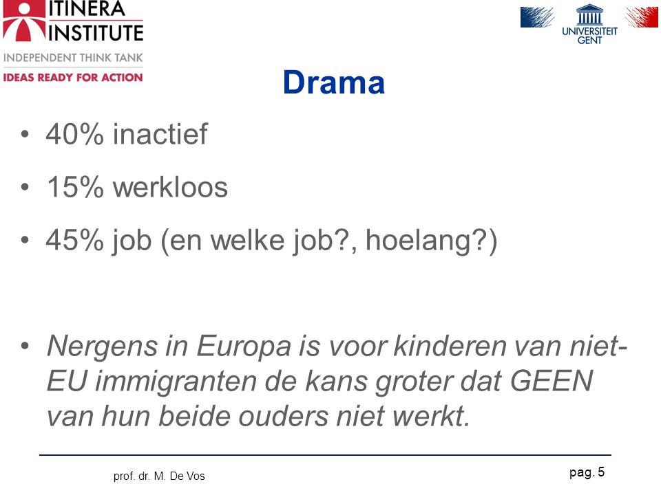Drama •40% inactief •15% werkloos •45% job (en welke job , hoelang ) •Nergens in Europa is voor kinderen van niet- EU immigranten de kans groter dat GEEN van hun beide ouders niet werkt.
