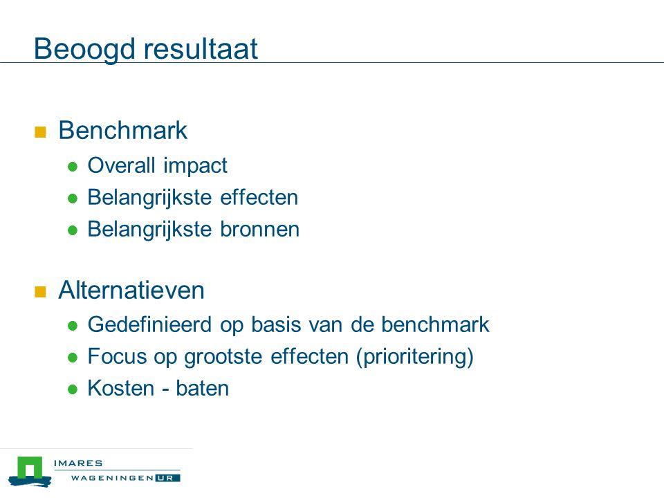 Beoogd resultaat  Benchmark  Overall impact  Belangrijkste effecten  Belangrijkste bronnen  Alternatieven  Gedefinieerd op basis van de benchmark  Focus op grootste effecten (prioritering)  Kosten - baten