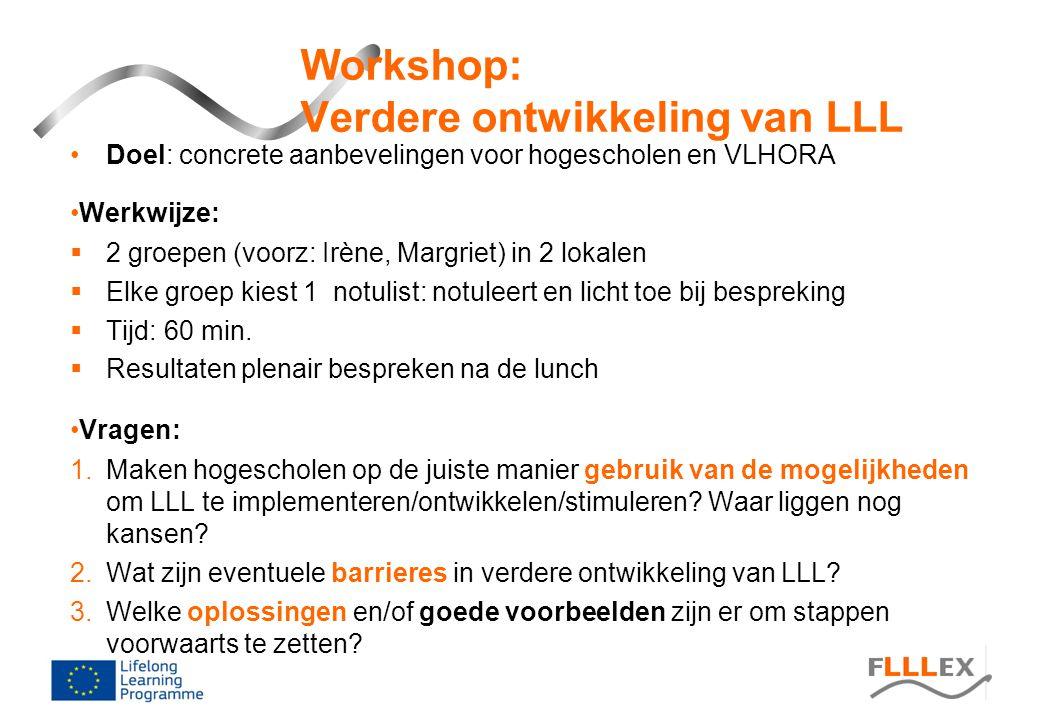 Workshop: Verdere ontwikkeling van LLL •Doel: concrete aanbevelingen voor hogescholen en VLHORA •Werkwijze:  2 groepen (voorz: Irène, Margriet) in 2