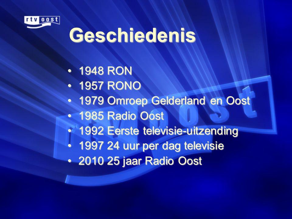 Geschiedenis •1948 RON •1957 RONO •1979 Omroep Gelderland en Oost •1985 Radio Oost •1992 Eerste televisie-uitzending •1997 24 uur per dag televisie •2010 25 jaar Radio Oost