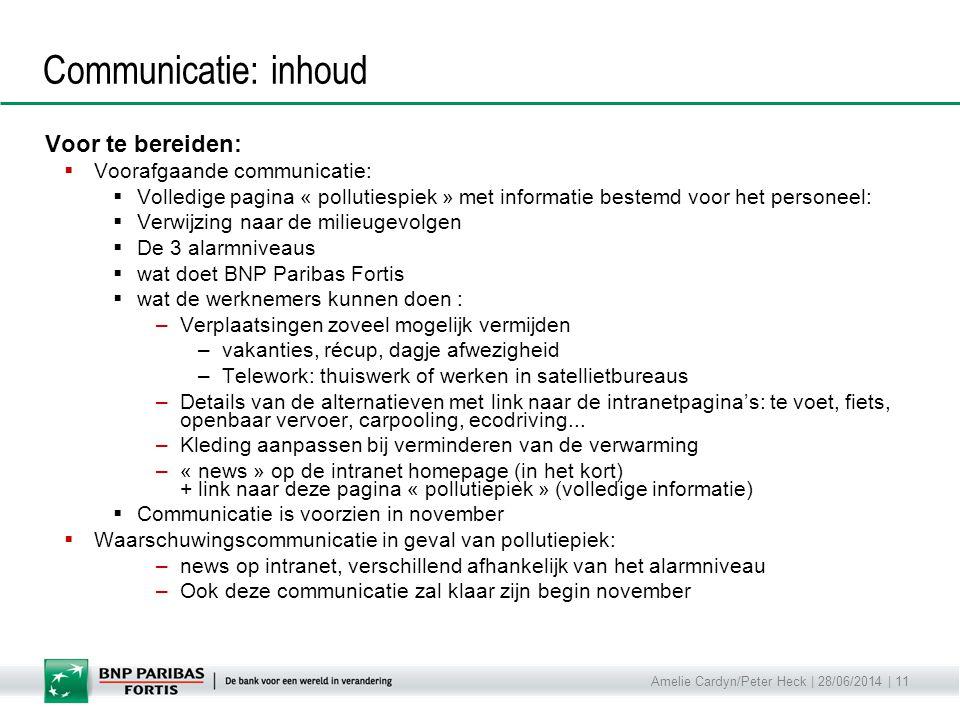 Amelie Cardyn/Peter Heck | 28/06/2014 | 11 Communicatie: inhoud Voor te bereiden:  Voorafgaande communicatie:  Volledige pagina « pollutiespiek » me