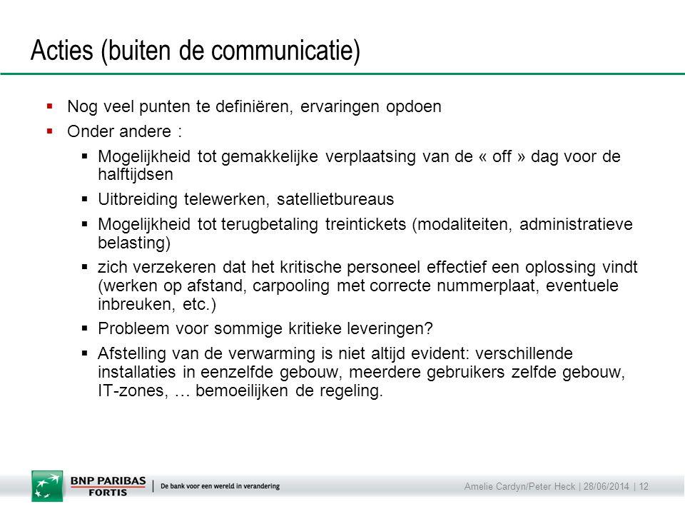 Amelie Cardyn/Peter Heck | 28/06/2014 | 12 Acties (buiten de communicatie)  Nog veel punten te definiëren, ervaringen opdoen  Onder andere :  Mogel