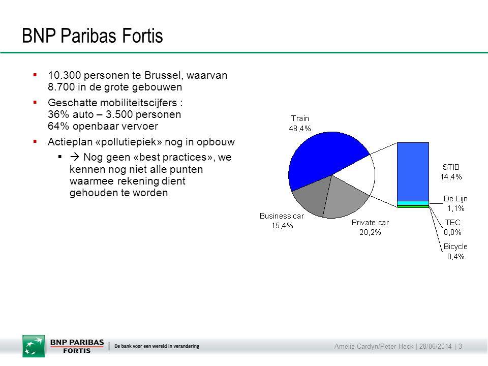 Amelie Cardyn/Peter Heck | 28/06/2014 | 3 BNP Paribas Fortis  10.300 personen te Brussel, waarvan 8.700 in de grote gebouwen  Geschatte mobiliteitsc