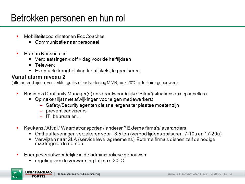 Amelie Cardyn/Peter Heck | 28/06/2014 | 4 Betrokken personen en hun rol  Mobiliteitscoördinator en EcoCoaches  Communicatie naar personeel  Human R