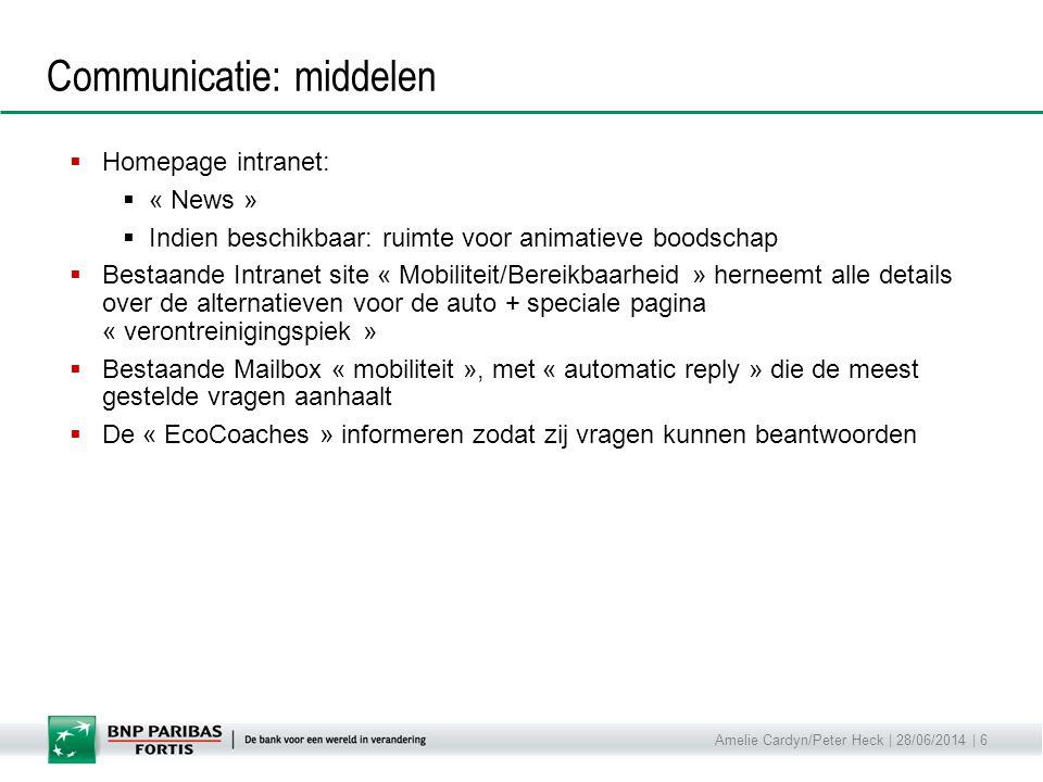 Amelie Cardyn/Peter Heck | 28/06/2014 | 6 Communicatie: middelen  Homepage intranet:  « News »  Indien beschikbaar: ruimte voor animatieve boodscha