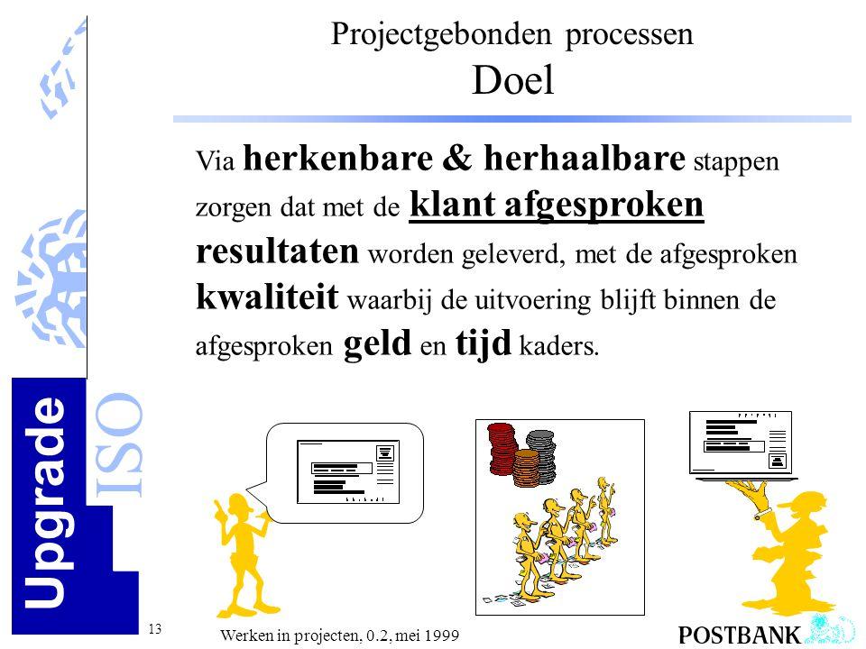Upgrade ISO 13 Werken in projecten, 0.2, mei 1999 Projectgebonden processen Doel Via herkenbare & herhaalbare stappen zorgen dat met de klant afgespro