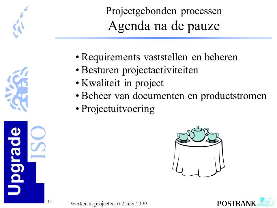 Upgrade ISO 15 Werken in projecten, 0.2, mei 1999 Projectgebonden processen Agenda na de pauze •Requirements vaststellen en beheren •Besturen projecta