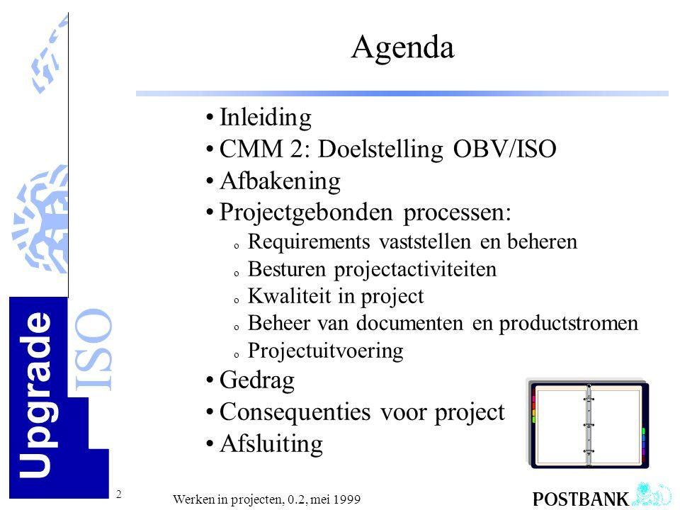Upgrade ISO 13 Werken in projecten, 0.2, mei 1999 Projectgebonden processen Doel Via herkenbare & herhaalbare stappen zorgen dat met de klant afgesproken resultaten worden geleverd, met de afgesproken kwaliteit waarbij de uitvoering blijft binnen de afgesproken geld en tijd kaders.