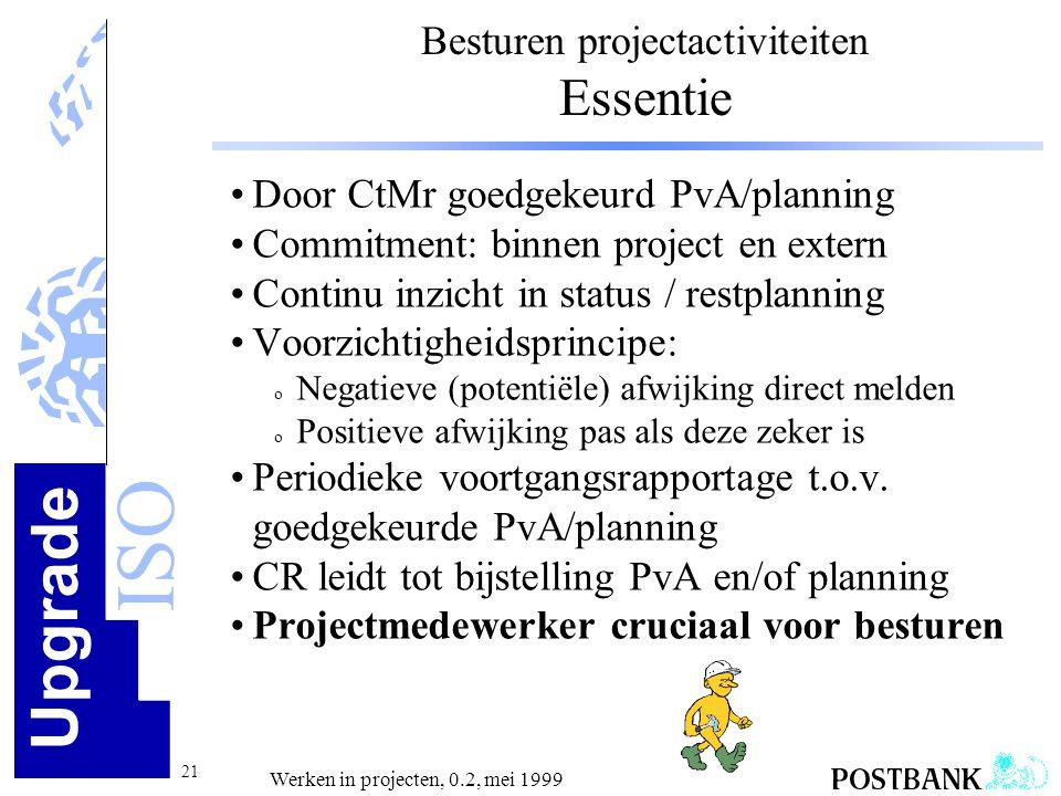 Upgrade ISO 21 Werken in projecten, 0.2, mei 1999 •Door CtMr goedgekeurd PvA/planning •Commitment: binnen project en extern •Continu inzicht in status