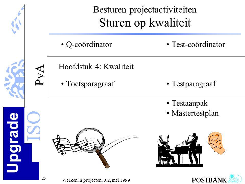 Upgrade ISO 25 Werken in projecten, 0.2, mei 1999 Besturen projectactiviteiten Sturen op kwaliteit •Q-coördinator •Toetsparagraaf •Test-coördinator •T