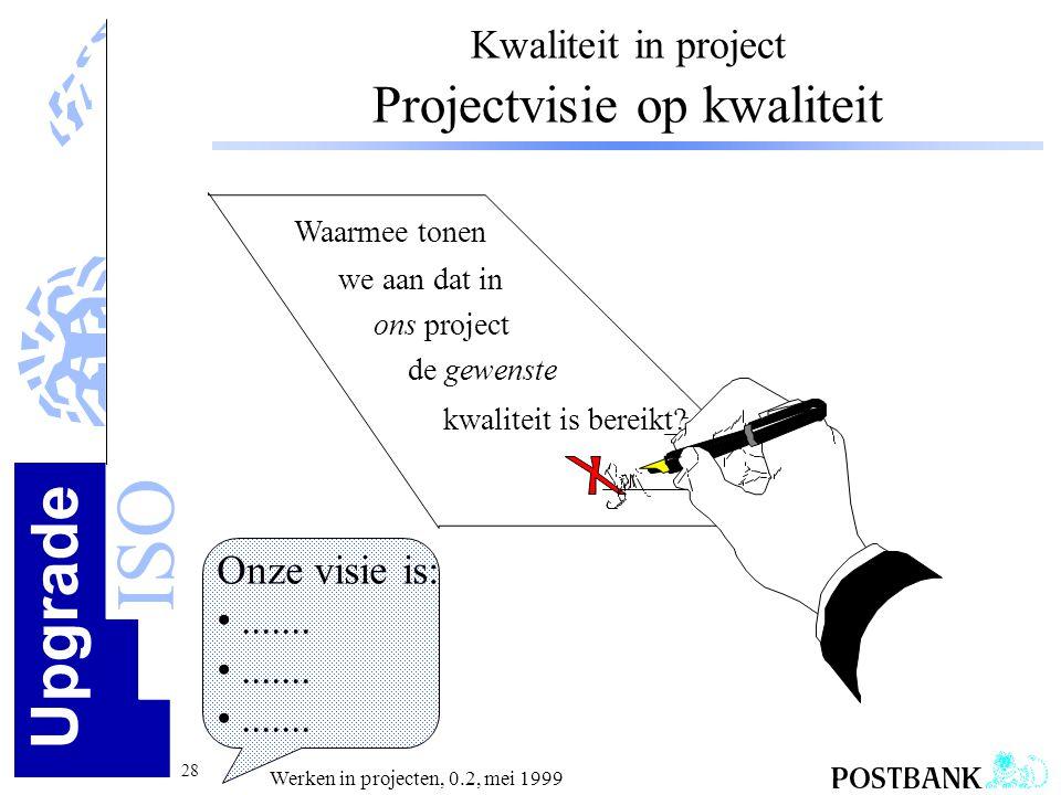 Upgrade ISO 28 Werken in projecten, 0.2, mei 1999 Kwaliteit in project Projectvisie op kwaliteit Waarmee tonen we aan dat in ons project de gewenste k