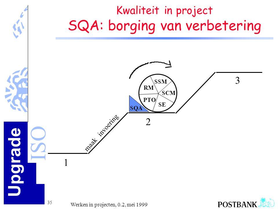 Upgrade ISO 35 Werken in projecten, 0.2, mei 1999 Kwaliteit in project SQA: borging van verbetering 1 2 3 maak invoering SCM SSM SE PTO RM SQA