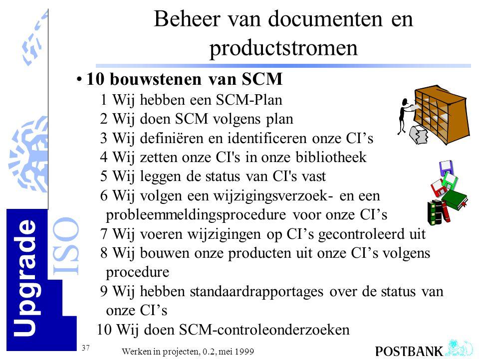 Upgrade ISO 37 Werken in projecten, 0.2, mei 1999 Beheer van documenten en productstromen •10 bouwstenen van SCM 1 Wij hebben een SCM-Plan 2 Wij doen