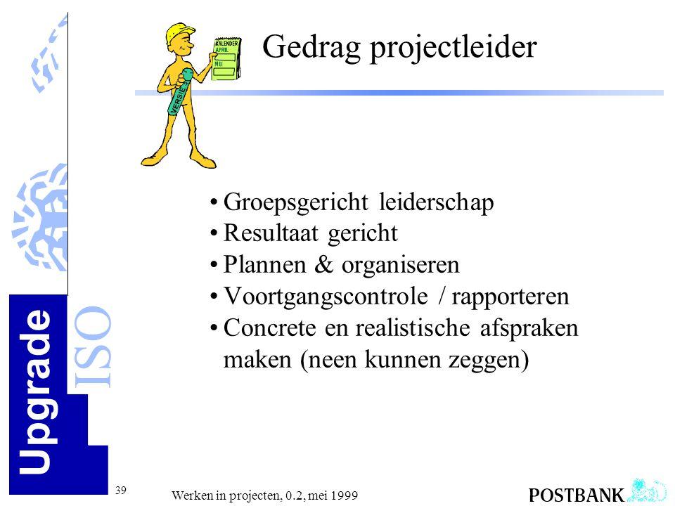 Upgrade ISO 39 Werken in projecten, 0.2, mei 1999 Gedrag projectleider •Groepsgericht leiderschap •Resultaat gericht •Plannen & organiseren •Voortgang