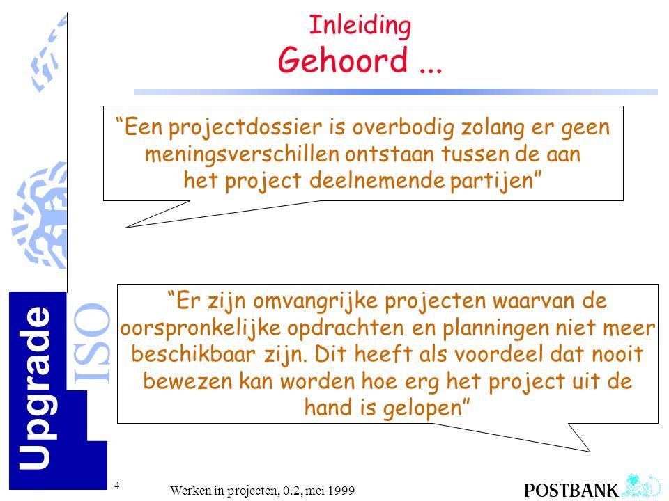 Upgrade ISO 15 Werken in projecten, 0.2, mei 1999 Projectgebonden processen Agenda na de pauze •Requirements vaststellen en beheren •Besturen projectactiviteiten •Kwaliteit in project •Beheer van documenten en productstromen •Projectuitvoering