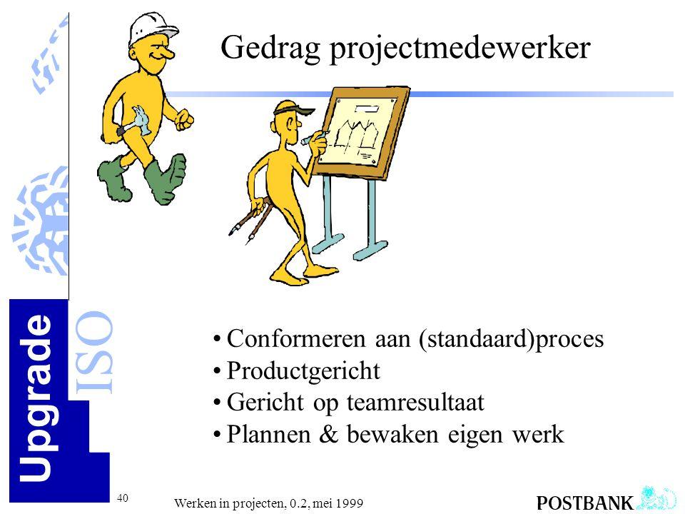 Upgrade ISO 40 Werken in projecten, 0.2, mei 1999 Gedrag projectmedewerker •Conformeren aan (standaard)proces •Productgericht •Gericht op teamresultaa