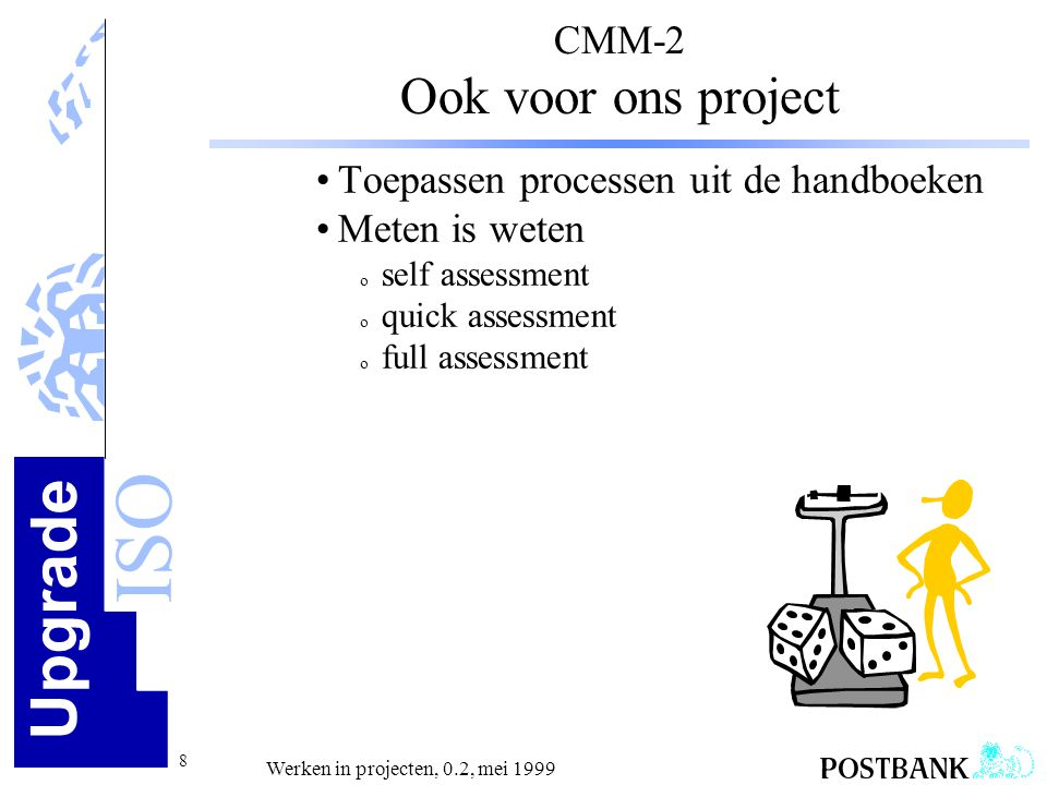 Upgrade ISO 29 Werken in projecten, 0.2, mei 1999 KwaliteitszorgKlanttevredenheid Beheersbaarheid Herhaalbaarheid draagt bij aan 4 Stappen: • Weten wat je moet doenvastleggen eisen • Zeggen hoe je het doet afspraken maken • Doen wat je hebt gezegdproject uitvoeren • Aantonen dat je hebt gedaaninspecteren/testen/ wat je hebt gezegd meten etc.