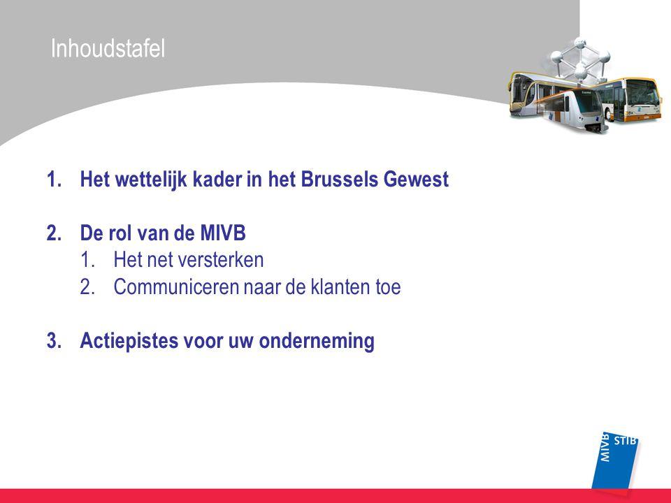 1.Het wettelijk kader in het Brussels Gewest 2.De rol van de MIVB 1.Het net versterken 2.Communiceren naar de klanten toe 3.Actiepistes voor uw onderneming Inhoudstafel