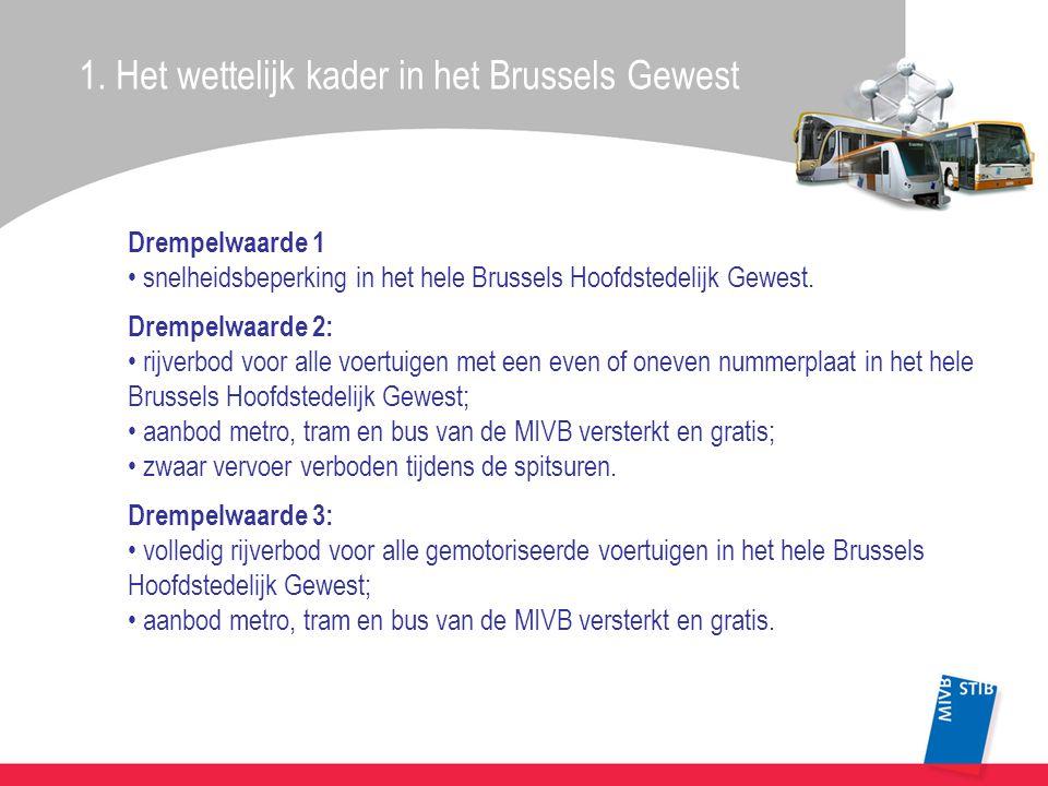 Drempelwaarde 1 • snelheidsbeperking in het hele Brussels Hoofdstedelijk Gewest. Drempelwaarde 2: • rijverbod voor alle voertuigen met een even of one