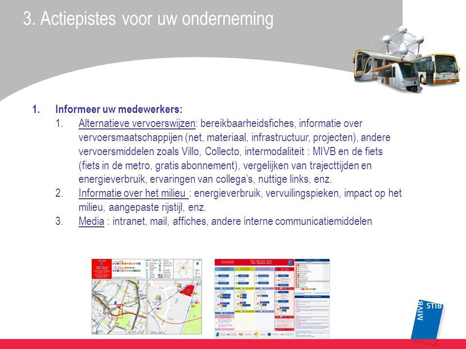 3. Actiepistes voor uw onderneming 1.Informeer uw medewerkers: 1.Alternatieve vervoerswijzen: bereikbaarheidsfiches, informatie over vervoersmaatschap