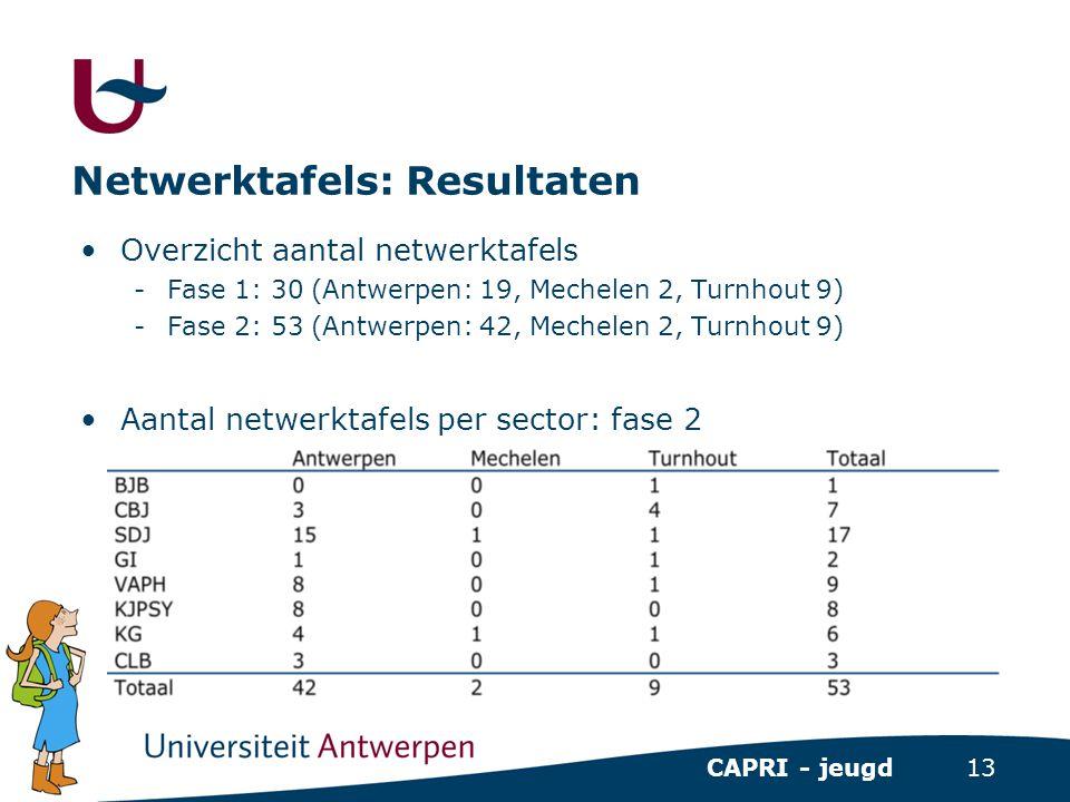 13 CAPRI - jeugd Netwerktafels: Resultaten •Overzicht aantal netwerktafels -Fase 1: 30 (Antwerpen: 19, Mechelen 2, Turnhout 9) -Fase 2: 53 (Antwerpen: