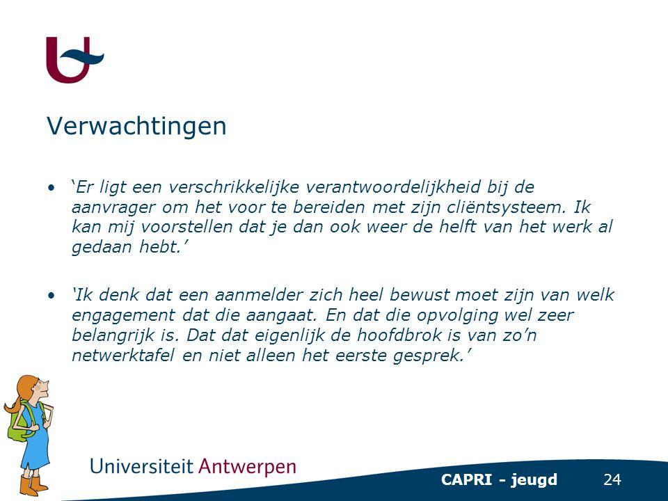 24 CAPRI - jeugd Verwachtingen •'Er ligt een verschrikkelijke verantwoordelijkheid bij de aanvrager om het voor te bereiden met zijn cliëntsysteem. Ik