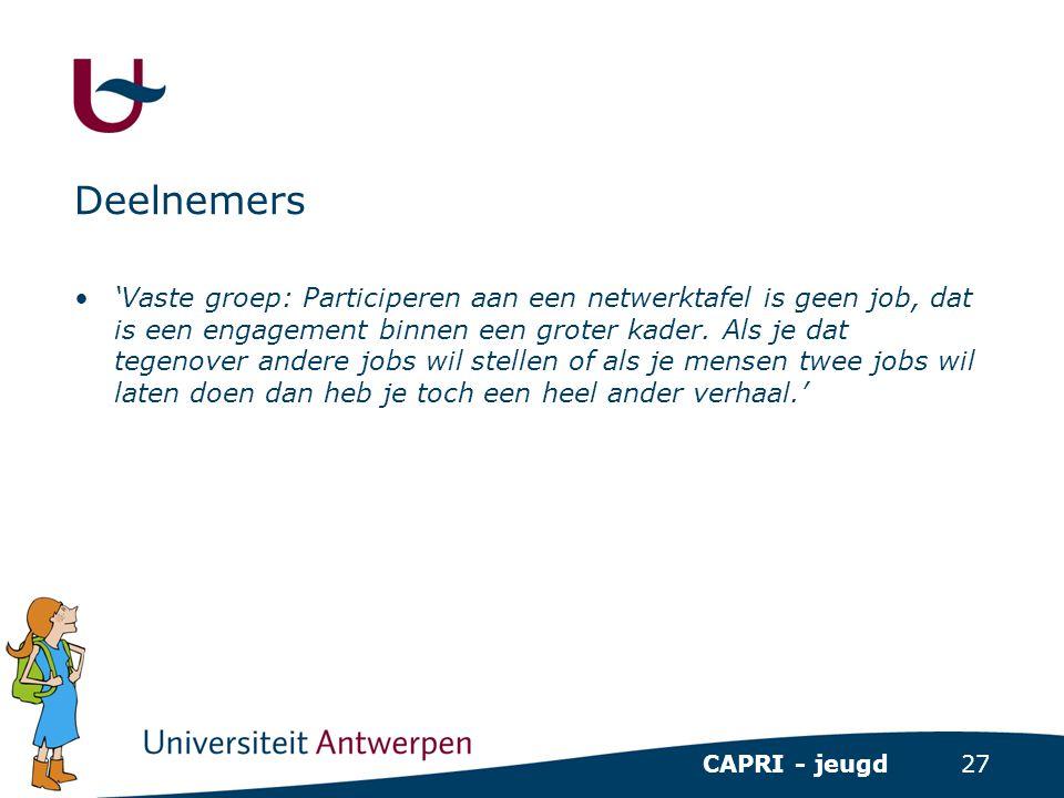 27 CAPRI - jeugd Deelnemers •'Vaste groep: Participeren aan een netwerktafel is geen job, dat is een engagement binnen een groter kader. Als je dat te