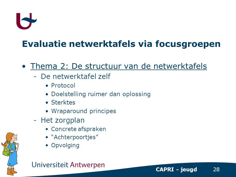 28 CAPRI - jeugd Evaluatie netwerktafels via focusgroepen •Thema 2: De structuur van de netwerktafels -De netwerktafel zelf •Protocol •Doelstelling ru
