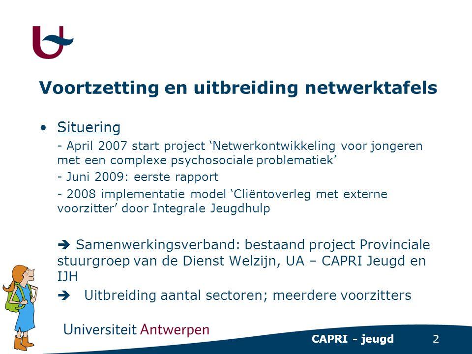 2 CAPRI - jeugd Voortzetting en uitbreiding netwerktafels •Situering - April 2007 start project 'Netwerkontwikkeling voor jongeren met een complexe ps