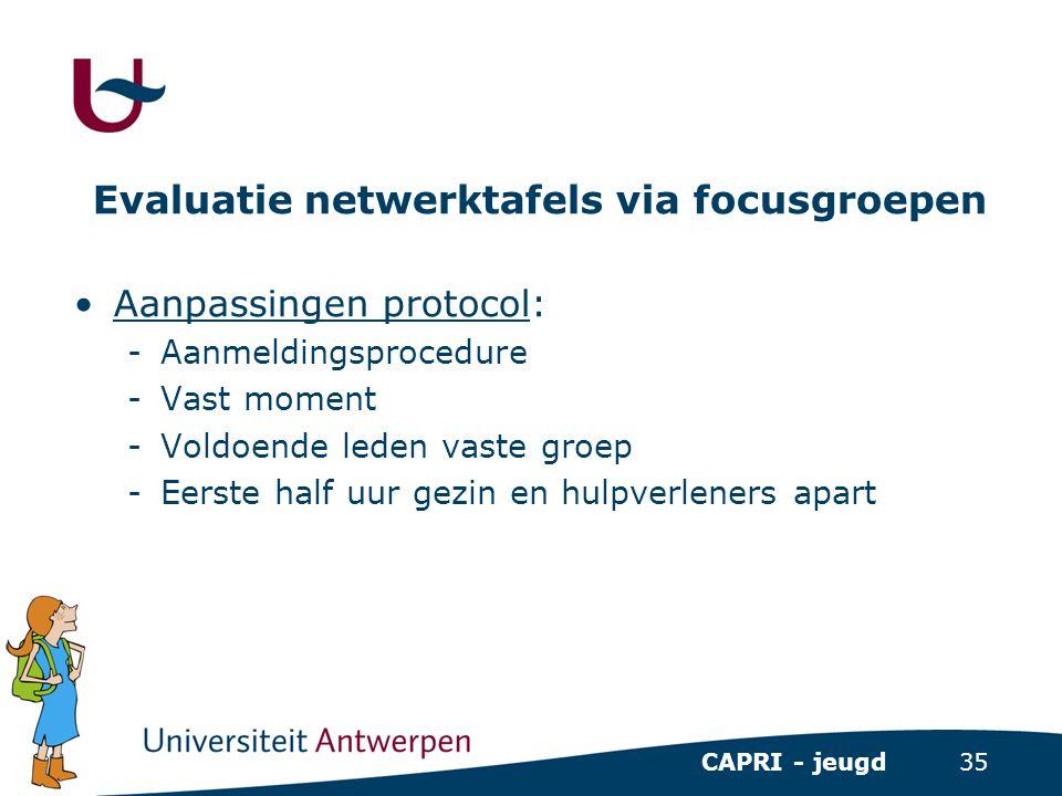 35 CAPRI - jeugd Evaluatie netwerktafels via focusgroepen •Aanpassingen protocol: -Aanmeldingsprocedure -Vast moment -Voldoende leden vaste groep -Eer