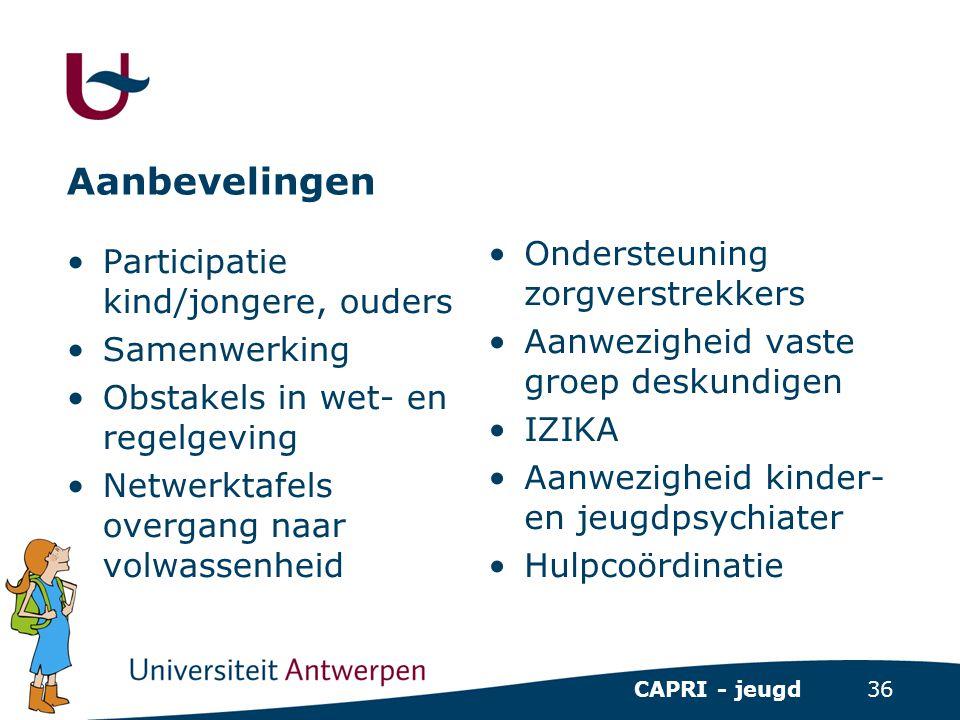 36 CAPRI - jeugd Aanbevelingen •Participatie kind/jongere, ouders •Samenwerking •Obstakels in wet- en regelgeving •Netwerktafels overgang naar volwass