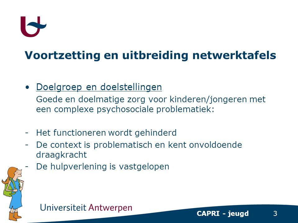 3 CAPRI - jeugd Voortzetting en uitbreiding netwerktafels •Doelgroep en doelstellingen Goede en doelmatige zorg voor kinderen/jongeren met een complex