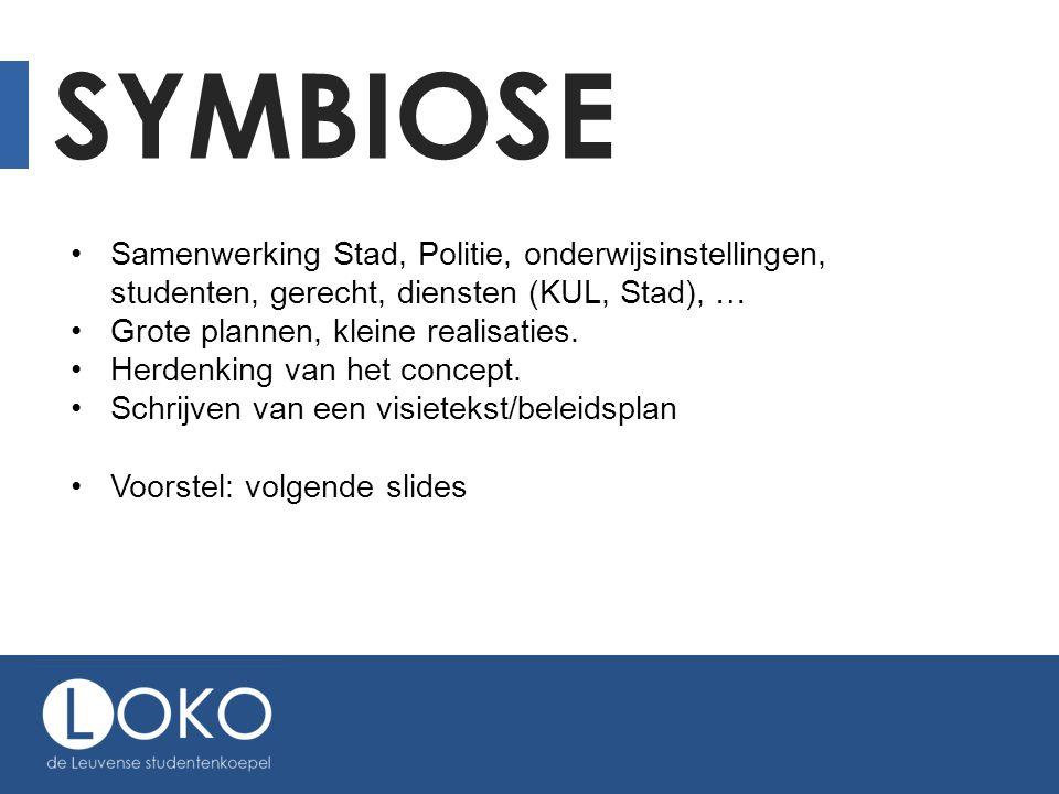 SYMBIOSE •Samenwerking Stad, Politie, onderwijsinstellingen, studenten, gerecht, diensten (KUL, Stad), … •Grote plannen, kleine realisaties.