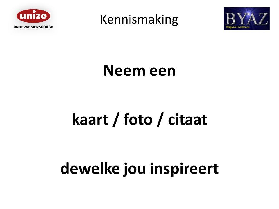 Kennismaking Neem een kaart / foto / citaat dewelke jou inspireert