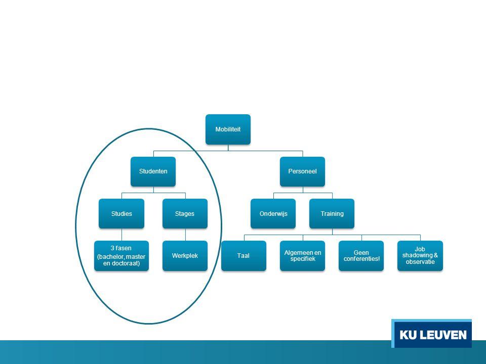 MobiliteitStudentenStudies 3 fasen (bachelor, master en doctoraat) StagesWerkplekPersoneelOnderwijsTrainingTaal Algemeen en specifiek Geen conferentie