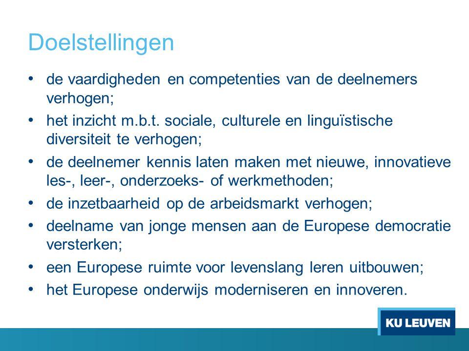 Doelstellingen • de vaardigheden en competenties van de deelnemers verhogen; • het inzicht m.b.t. sociale, culturele en linguïstische diversiteit te v