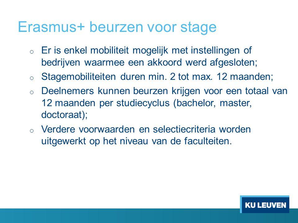 Erasmus+ beurzen voor studie en stage • De beursbedragen worden ieder academiejaar vastgelegd door het Nationaal Agentschap EPOS en het Ministerie van Onderwijs; • Het beursbedrag hangt af van de bestemming van de mobiliteit (3 categorieën; beurs afhankelijk van de levensduurte van het land van bestemming); • Top-up voor studenten met een studietoelage; • Top-up voor stagemobiliteit t.o.v.