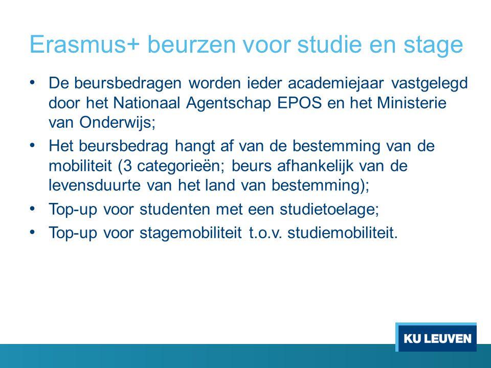 Erasmus+ beurzen voor studie en stage • De beursbedragen worden ieder academiejaar vastgelegd door het Nationaal Agentschap EPOS en het Ministerie van