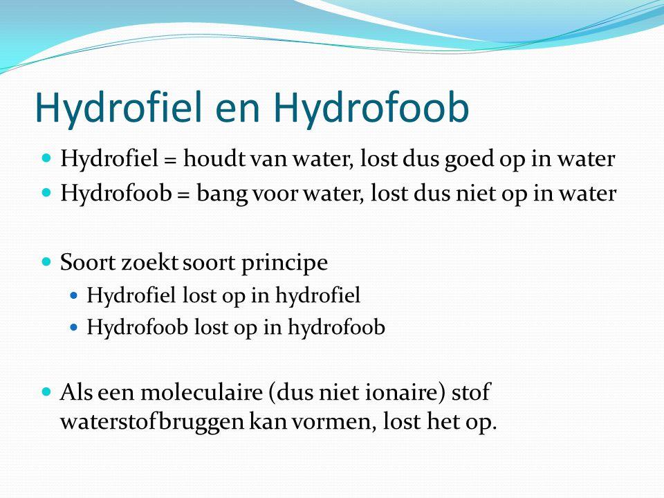 Hydrofiel en Hydrofoob  Hydrofiel = houdt van water, lost dus goed op in water  Hydrofoob = bang voor water, lost dus niet op in water  Soort zoekt soort principe  Hydrofiel lost op in hydrofiel  Hydrofoob lost op in hydrofoob  Als een moleculaire (dus niet ionaire) stof waterstofbruggen kan vormen, lost het op.
