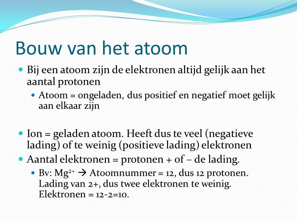 Bouw van het atoom  Bij een atoom zijn de elektronen altijd gelijk aan het aantal protonen  Atoom = ongeladen, dus positief en negatief moet gelijk aan elkaar zijn  Ion = geladen atoom.