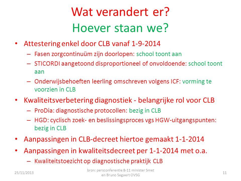 Wat verandert er? Hoever staan we? • Attestering enkel door CLB vanaf 1-9-2014 – Fasen zorgcontinuüm zijn doorlopen: school toont aan – STICORDI aange