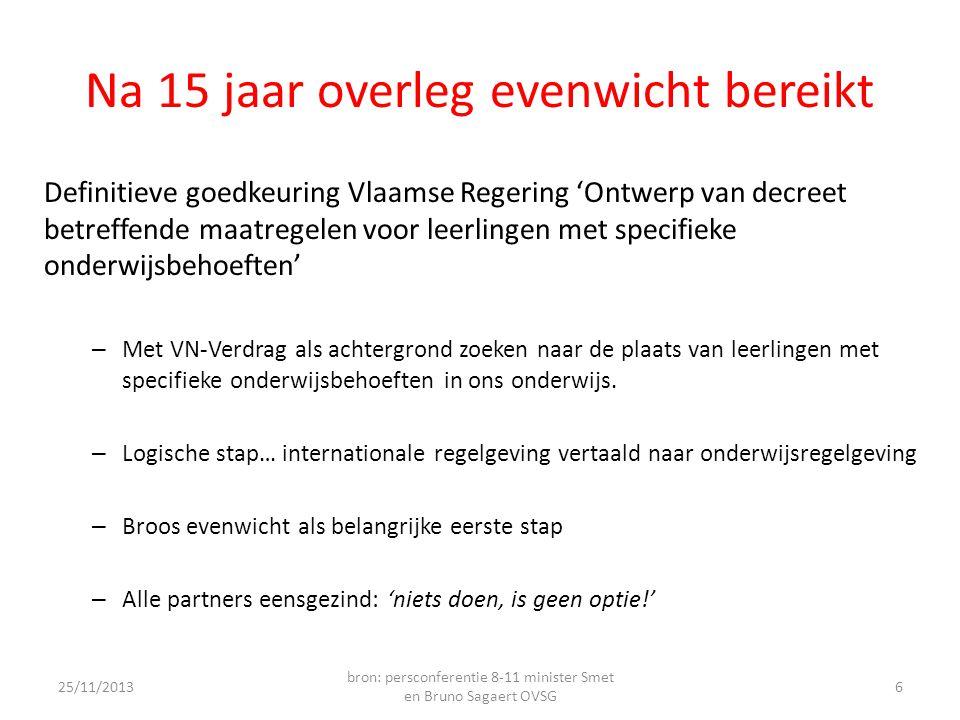 Na 15 jaar overleg evenwicht bereikt Definitieve goedkeuring Vlaamse Regering 'Ontwerp van decreet betreffende maatregelen voor leerlingen met specifieke onderwijsbehoeften' – Met VN-Verdrag als achtergrond zoeken naar de plaats van leerlingen met specifieke onderwijsbehoeften in ons onderwijs.