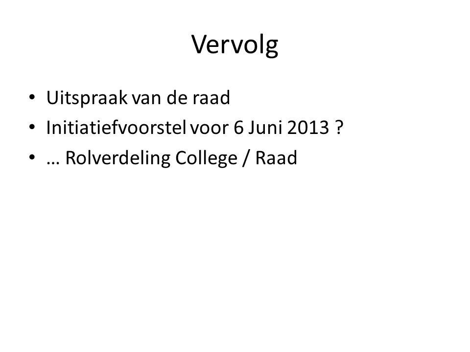 Vervolg • Uitspraak van de raad • Initiatiefvoorstel voor 6 Juni 2013 .