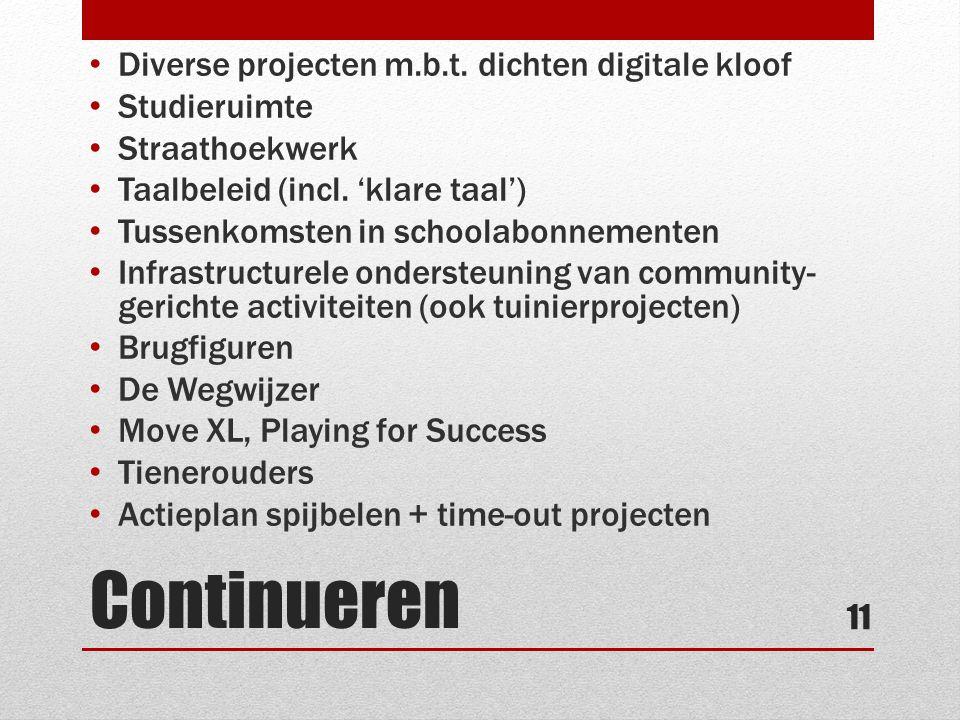 Continueren • Diverse projecten m.b.t. dichten digitale kloof • Studieruimte • Straathoekwerk • Taalbeleid (incl. 'klare taal') • Tussenkomsten in sch